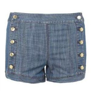 Juicy Couture Denim Sailor Jean Button Shorts 28